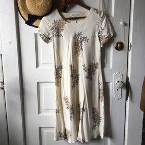 VTG 80s Jessica Howard white floral rayon dress